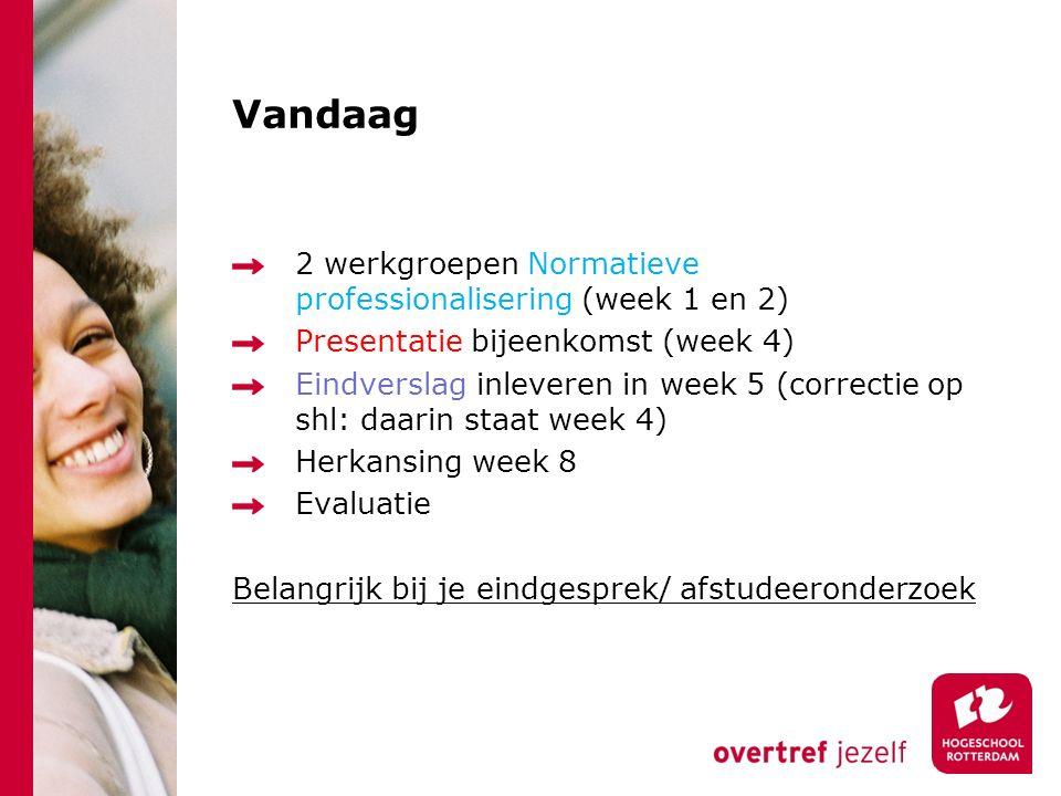 Vandaag 2 werkgroepen Normatieve professionalisering (week 1 en 2) Presentatie bijeenkomst (week 4) Eindverslag inleveren in week 5 (correctie op shl: