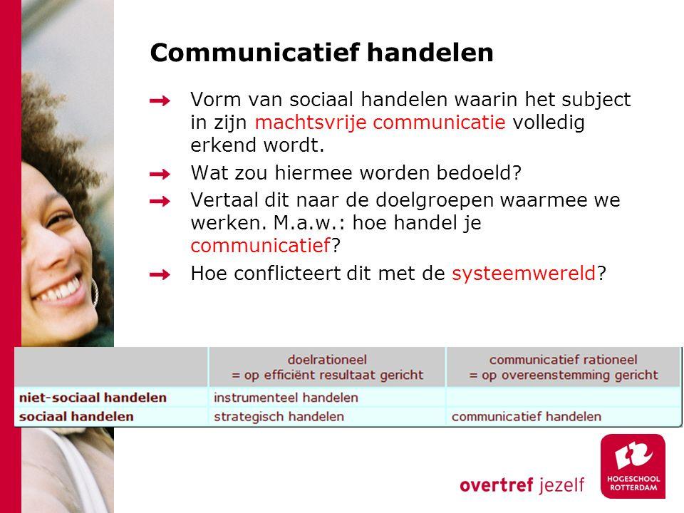 Communicatief handelen Vorm van sociaal handelen waarin het subject in zijn machtsvrije communicatie volledig erkend wordt. Wat zou hiermee worden bed