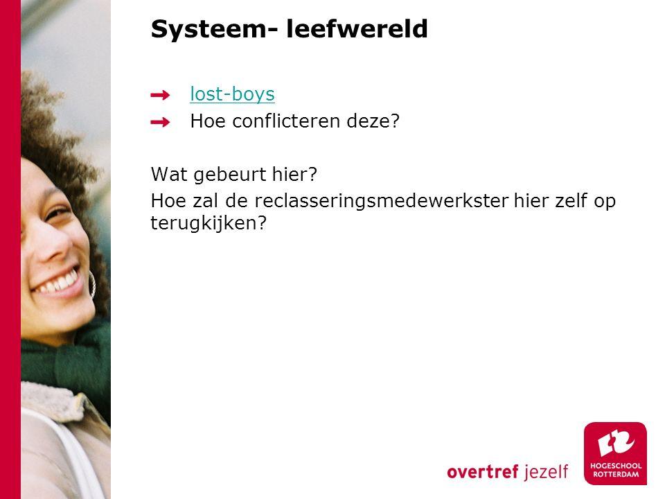 Systeem- leefwereld lost-boys Hoe conflicteren deze? Wat gebeurt hier? Hoe zal de reclasseringsmedewerkster hier zelf op terugkijken?