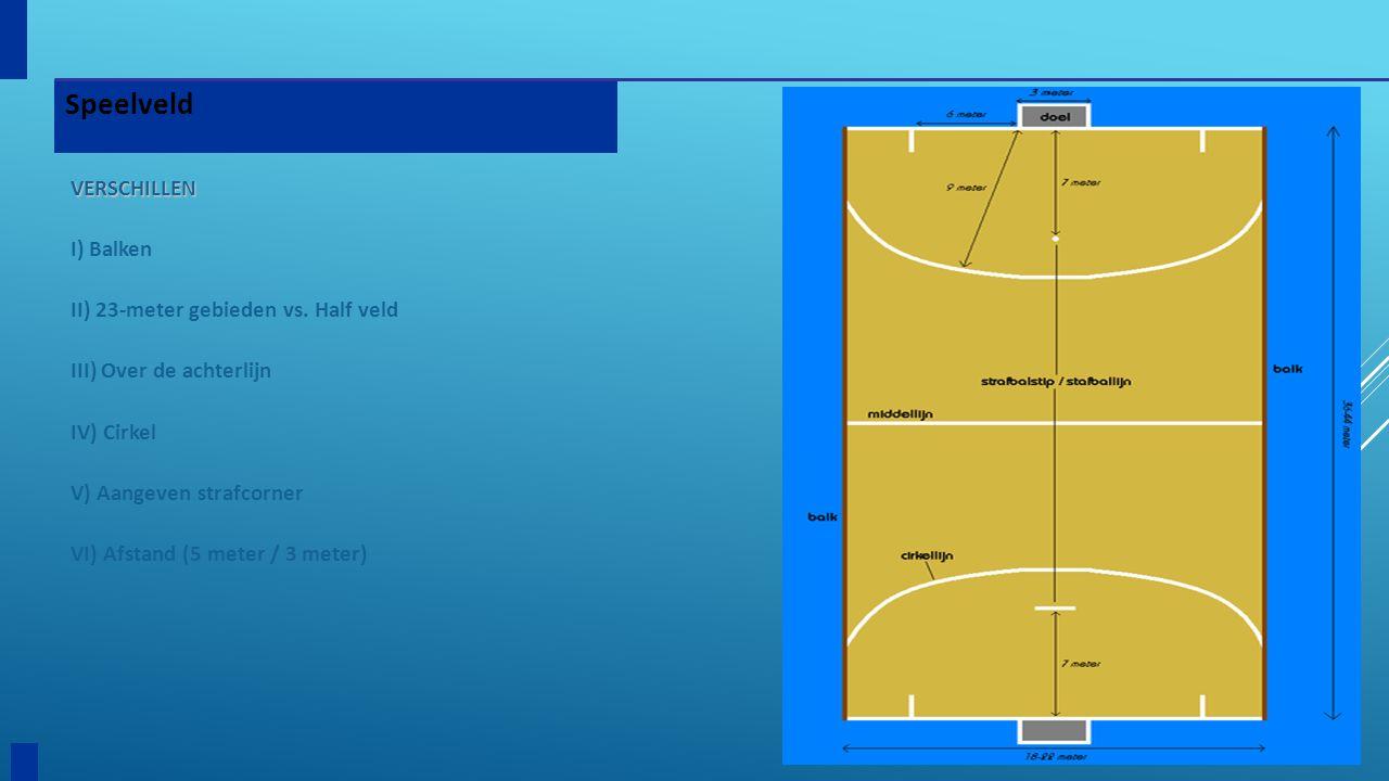 Speelveld VERSCHILLEN I) Balken II) 23-meter gebieden vs. Half veld III) Over de achterlijn IV) Cirkel V) Aangeven strafcorner VI) Afstand (5 meter /