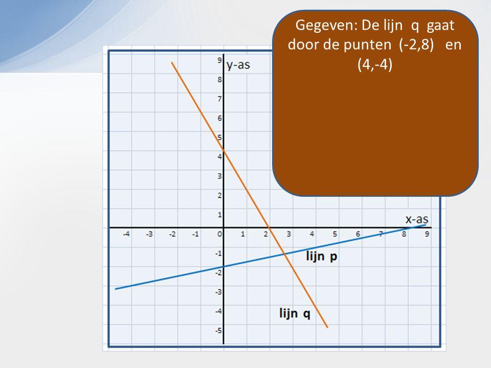 Gegeven: De lijn q gaat door de punten (-2,8) en (4,-4) Dus de rc is -12/6 De lijn is dus: y = -2 x + b y = -2 x + 4