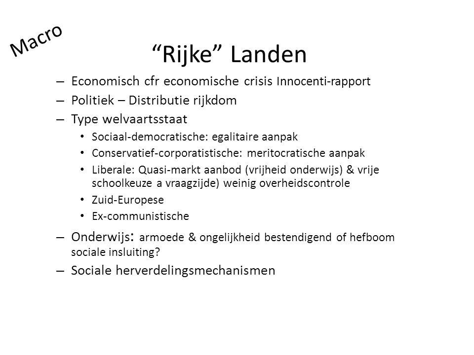 """""""Rijke"""" Landen – Economisch cfr economische crisis Innocenti-rapport – Politiek – Distributie rijkdom – Type welvaartsstaat Sociaal-democratische: ega"""