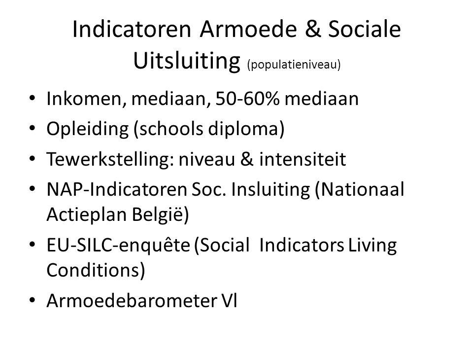 Indicatoren Armoede & Sociale Uitsluiting (populatieniveau) Inkomen, mediaan, 50-60% mediaan Opleiding (schools diploma) Tewerkstelling: niveau & inte