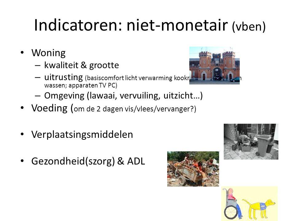 Indicatoren: niet-monetair (vben) Woning – kwaliteit & grootte – uitrusting (basiscomfort licht verwarming kookmogelijkheid koken wassen; apparaten TV