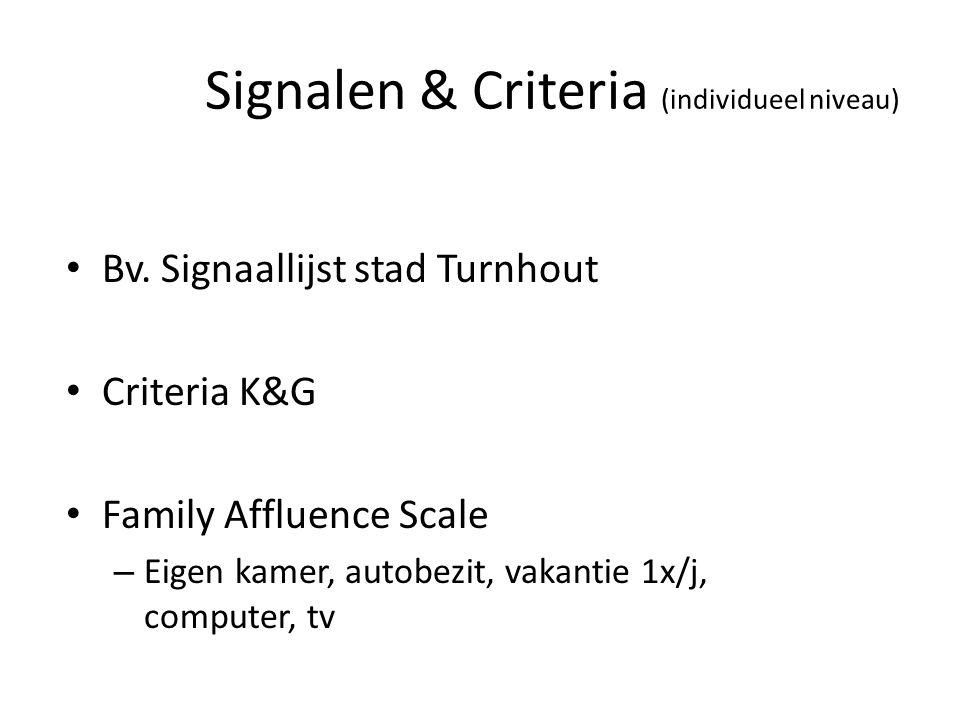 Signalen & Criteria (individueel niveau) Bv. Signaallijst stad Turnhout Criteria K&G Family Affluence Scale – Eigen kamer, autobezit, vakantie 1x/j, c