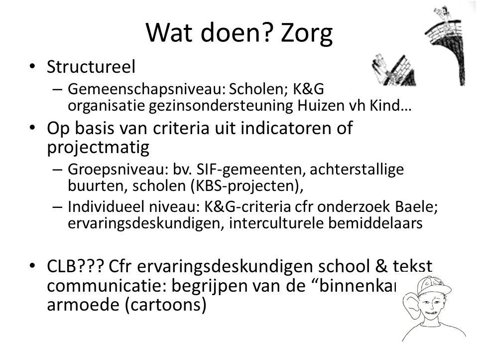 Wat doen? Zorg Structureel – Gemeenschapsniveau: Scholen; K&G organisatie gezinsondersteuning Huizen vh Kind… Op basis van criteria uit indicatoren of
