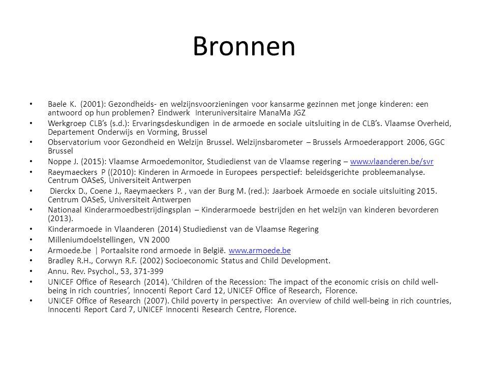 Bronnen Baele K. (2001): Gezondheids- en welzijnsvoorzieningen voor kansarme gezinnen met jonge kinderen: een antwoord op hun problemen? Eindwerk Inte