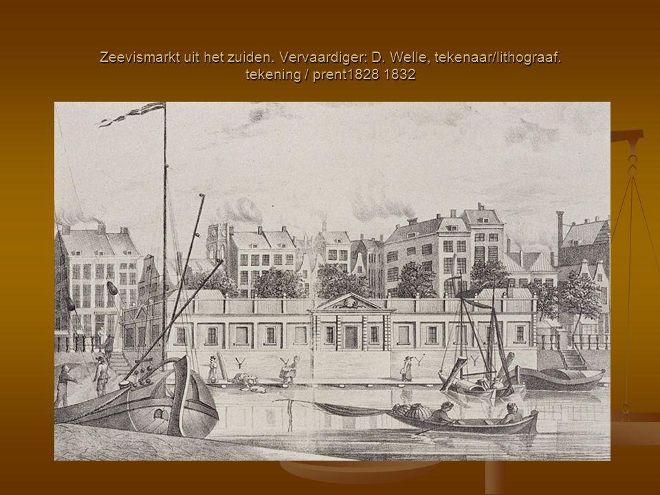 Zeevismarkt uit het zuiden. Vervaardiger: D. Welle, tekenaar/lithograaf. tekening / prent1828 1832