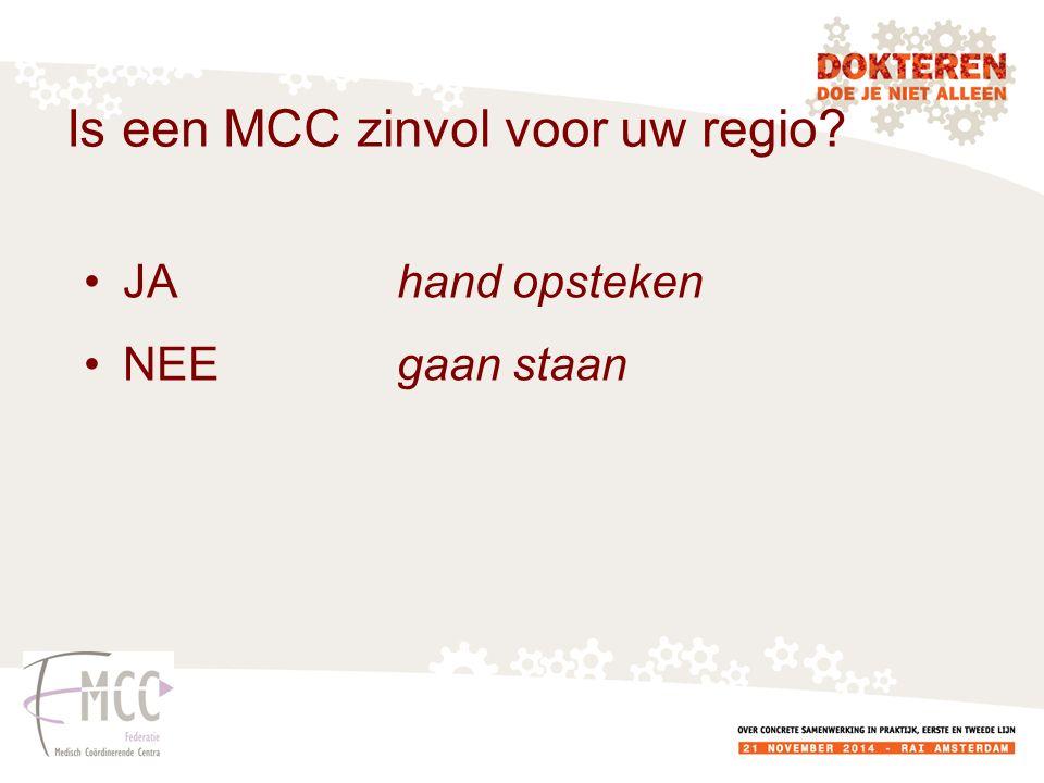 Is een MCC zinvol voor uw regio? JA hand opsteken NEEgaan staan