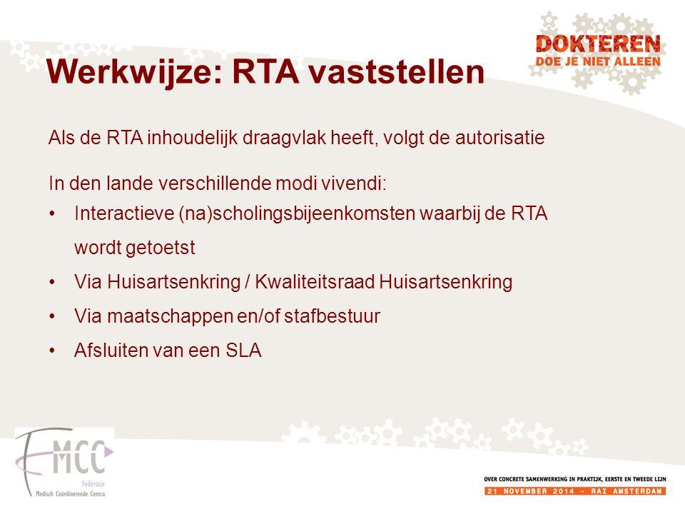 Als de RTA inhoudelijk draagvlak heeft, volgt de autorisatie In den lande verschillende modi vivendi: Interactieve (na)scholingsbijeenkomsten waarbij