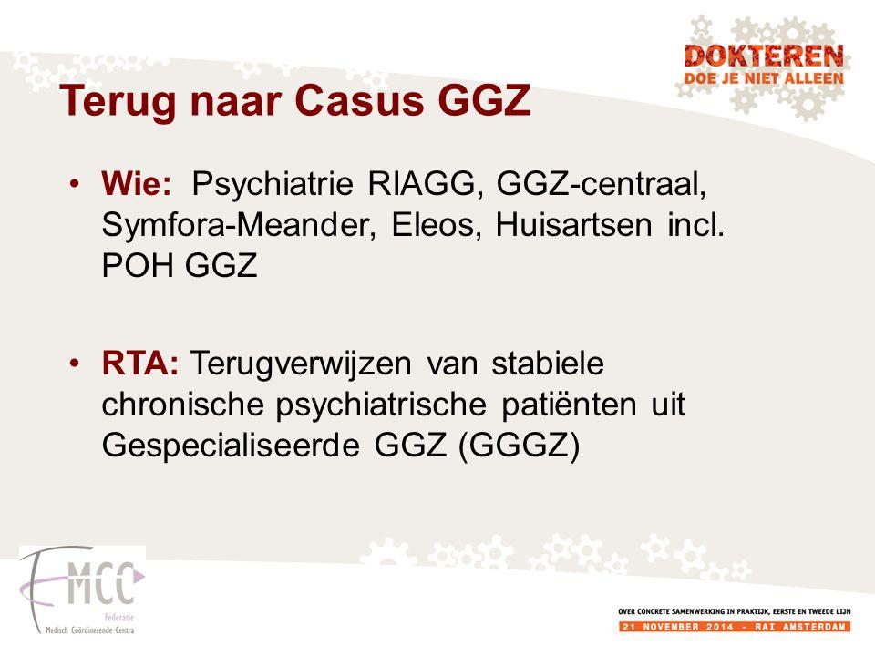 Wie: Psychiatrie RIAGG, GGZ-centraal, Symfora-Meander, Eleos, Huisartsen incl. POH GGZ RTA: Terugverwijzen van stabiele chronische psychiatrische pati
