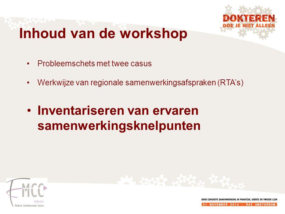 Inhoud van de workshop Probleemschets met twee casus Werkwijze van regionale samenwerkingsafspraken (RTA's) Inventariseren van ervaren samenwerkingsknelpunten