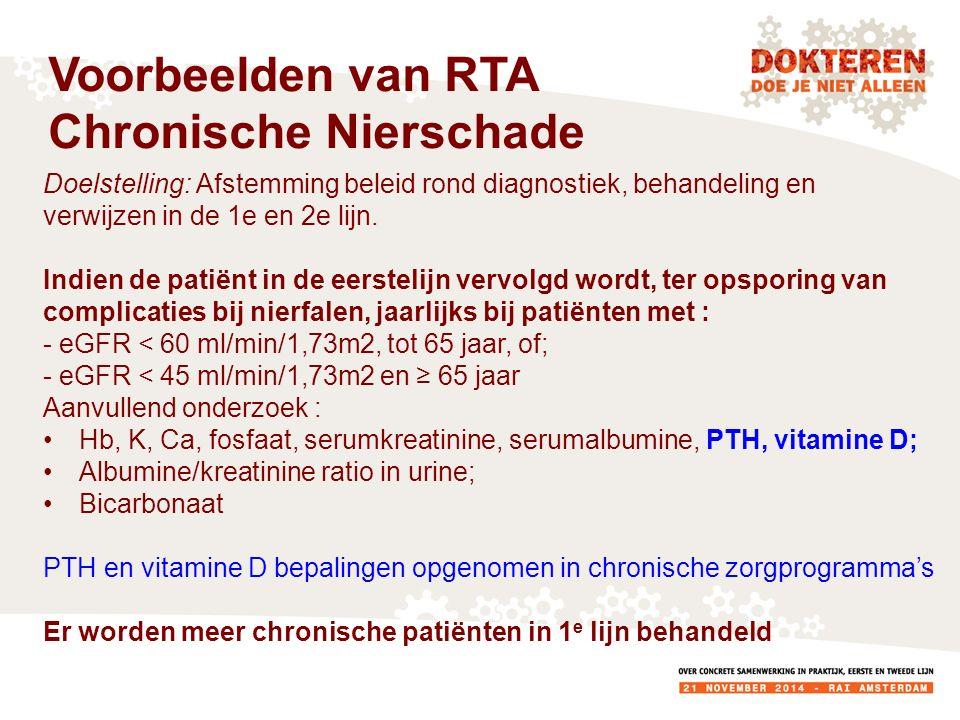Doelstelling: Afstemming beleid rond diagnostiek, behandeling en verwijzen in de 1e en 2e lijn.
