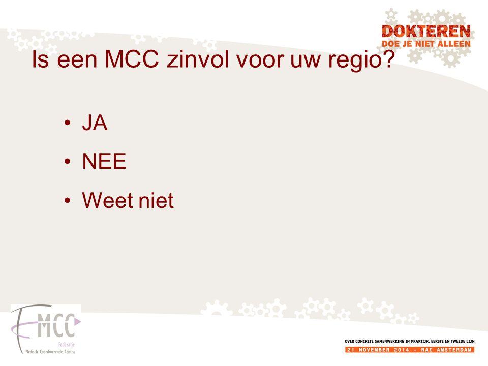 Is een MCC zinvol voor uw regio? JA NEE Weet niet