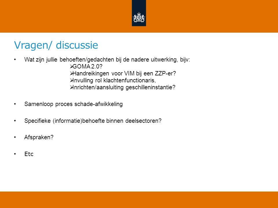 Vragen/ discussie Wat zijn jullie behoeften/gedachten bij de nadere uitwerking, bijv:  GOMA 2.0?  Handreikingen voor VIM bij een ZZP-er?  Invulling