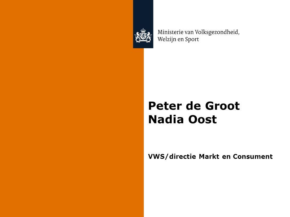 Peter de Groot Nadia Oost VWS/directie Markt en Consument