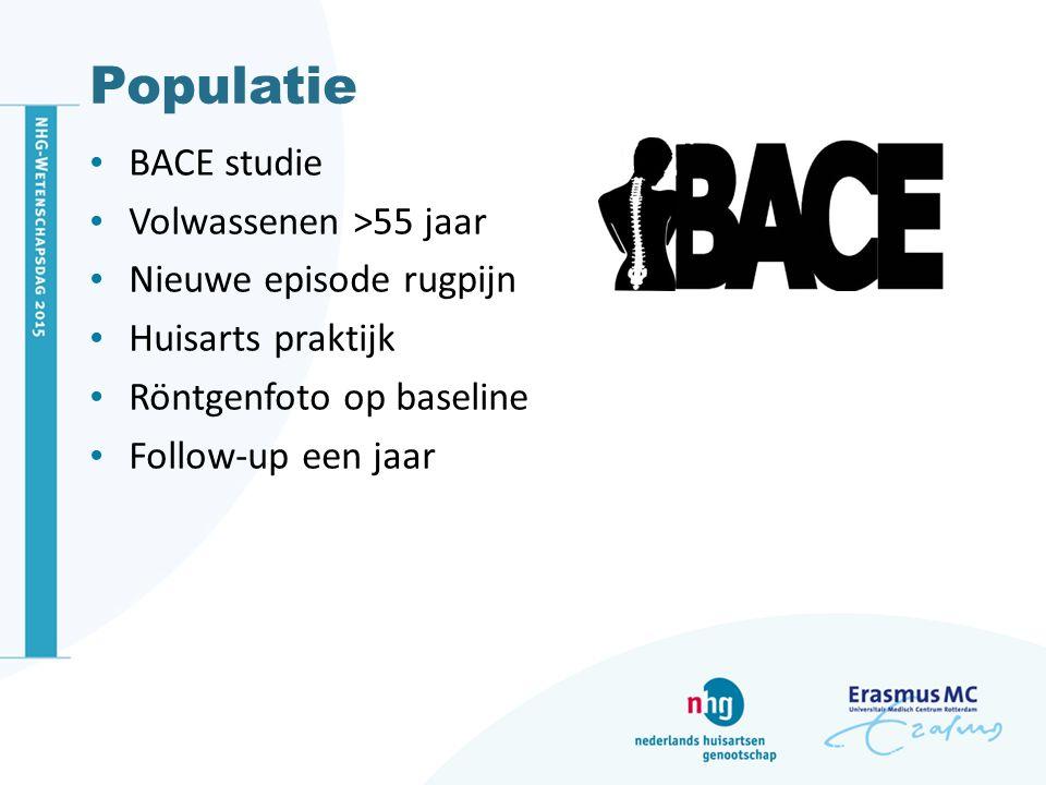 Populatie BACE studie Volwassenen >55 jaar Nieuwe episode rugpijn Huisarts praktijk Röntgenfoto op baseline Follow-up een jaar