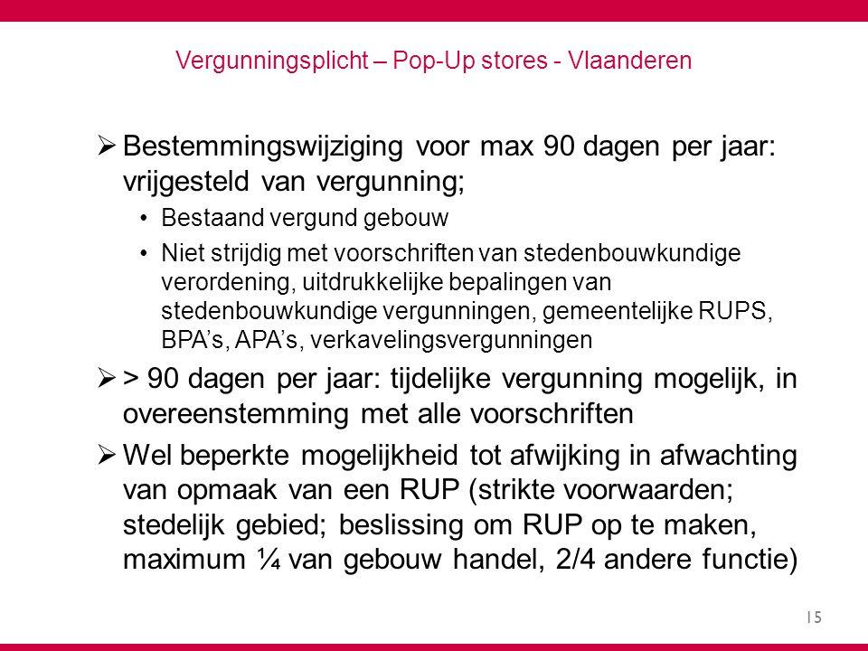15 Vergunningsplicht – Pop-Up stores - Vlaanderen  Bestemmingswijziging voor max 90 dagen per jaar: vrijgesteld van vergunning; Bestaand vergund gebouw Niet strijdig met voorschriften van stedenbouwkundige verordening, uitdrukkelijke bepalingen van stedenbouwkundige vergunningen, gemeentelijke RUPS, BPA's, APA's, verkavelingsvergunningen  > 90 dagen per jaar: tijdelijke vergunning mogelijk, in overeenstemming met alle voorschriften  Wel beperkte mogelijkheid tot afwijking in afwachting van opmaak van een RUP (strikte voorwaarden; stedelijk gebied; beslissing om RUP op te maken, maximum ¼ van gebouw handel, 2/4 andere functie)
