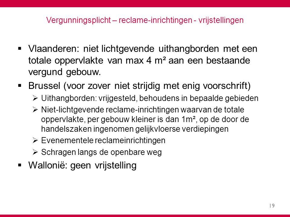 19 Vergunningsplicht – reclame-inrichtingen - vrijstellingen  Vlaanderen: niet lichtgevende uithangborden met een totale oppervlakte van max 4 m² aan een bestaande vergund gebouw.