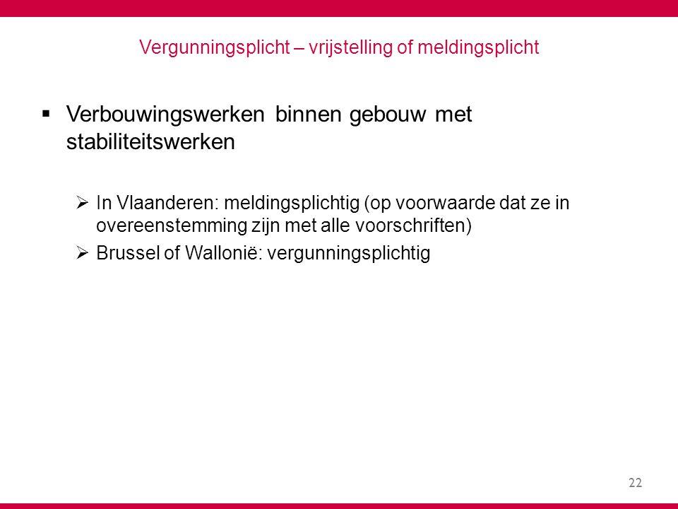 22 Vergunningsplicht – vrijstelling of meldingsplicht  Verbouwingswerken binnen gebouw met stabiliteitswerken  In Vlaanderen: meldingsplichtig (op voorwaarde dat ze in overeenstemming zijn met alle voorschriften)  Brussel of Wallonië: vergunningsplichtig