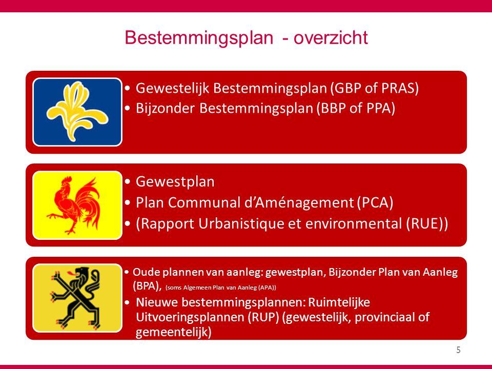 5 Bestemmingsplan - overzicht Gewestelijk Bestemmingsplan (GBP of PRAS) Bijzonder Bestemmingsplan (BBP of PPA) Gewestplan Plan Communal d'Aménagement (PCA) (Rapport Urbanistique et environmental (RUE)) Oude plannen van aanleg: gewestplan, Bijzonder Plan van Aanleg (BPA), (soms Algemeen Plan van Aanleg (APA)) Nieuwe bestemmingsplannen: Ruimtelijke Uitvoeringsplannen (RUP) (gewestelijk, provinciaal of gemeentelijk)