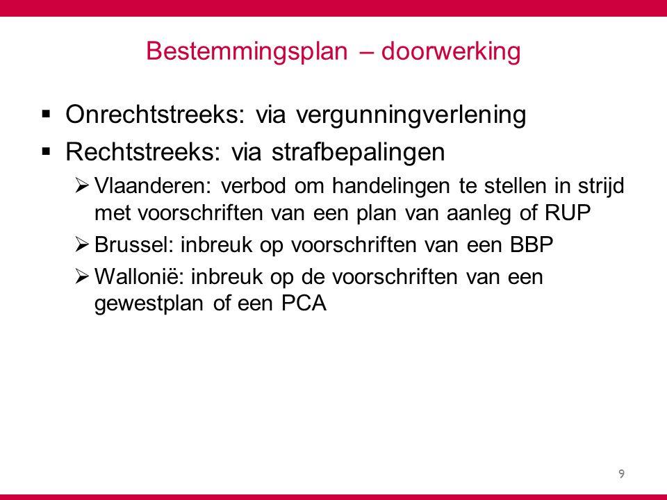 9 Bestemmingsplan – doorwerking  Onrechtstreeks: via vergunningverlening  Rechtstreeks: via strafbepalingen  Vlaanderen: verbod om handelingen te stellen in strijd met voorschriften van een plan van aanleg of RUP  Brussel: inbreuk op voorschriften van een BBP  Wallonië: inbreuk op de voorschriften van een gewestplan of een PCA