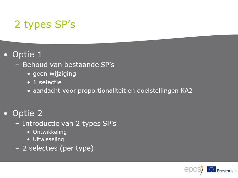 2 types SP's Optie 1 –Behoud van bestaande SP's geen wijziging 1 selectie aandacht voor proportionaliteit en doelstellingen KA2 Optie 2 –Introductie van 2 types SP's Ontwikkeling Uitwisseling –2 selecties (per type)
