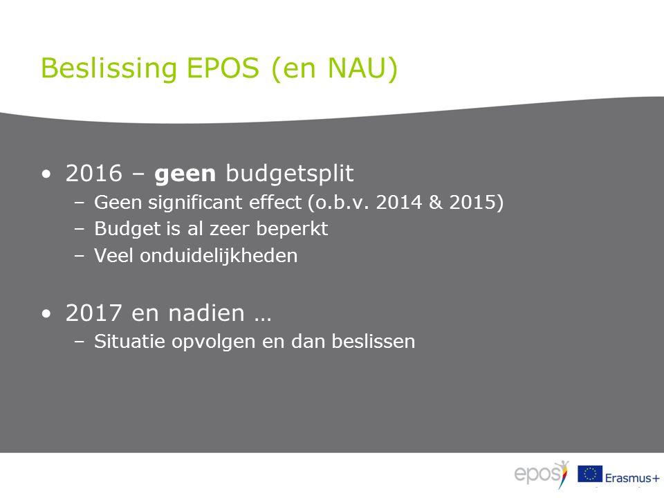 Beslissing EPOS (en NAU) 2016 – geen budgetsplit –Geen significant effect (o.b.v.