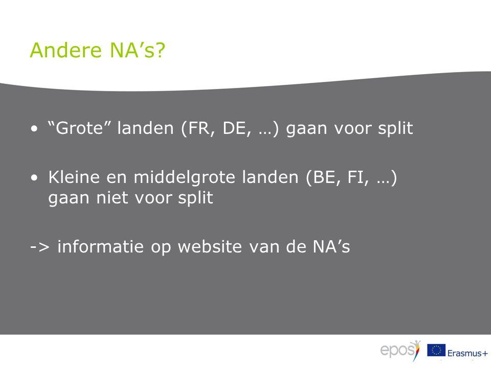"""Andere NA's? """"Grote"""" landen (FR, DE, …) gaan voor split Kleine en middelgrote landen (BE, FI, …) gaan niet voor split -> informatie op website van de"""