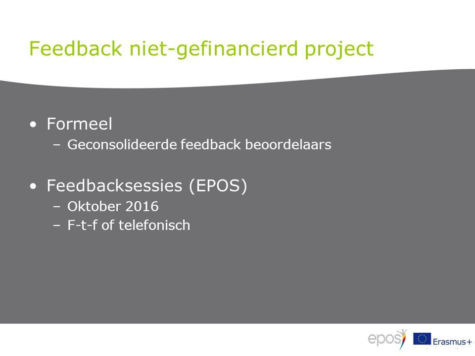 Feedback niet-gefinancierd project Formeel –Geconsolideerde feedback beoordelaars Feedbacksessies (EPOS) –Oktober 2016 –F-t-f of telefonisch