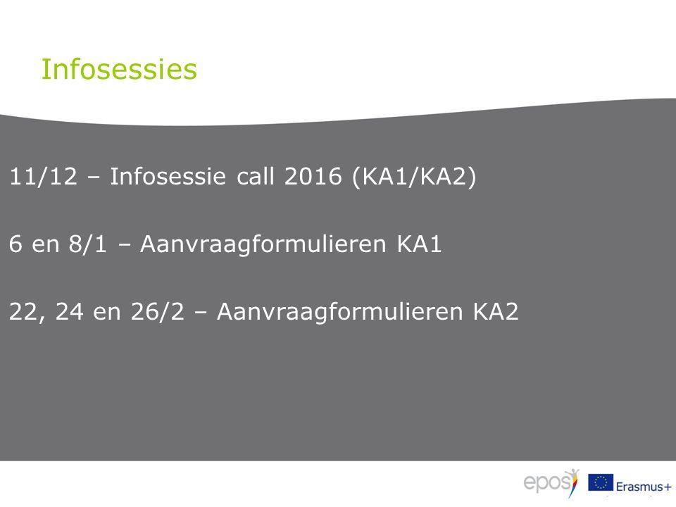 Infosessies 11/12 – Infosessie call 2016 (KA1/KA2) 6 en 8/1 – Aanvraagformulieren KA1 22, 24 en 26/2 – Aanvraagformulieren KA2