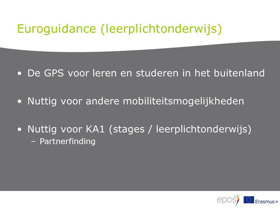 Euroguidance (leerplichtonderwijs) De GPS voor leren en studeren in het buitenland Nuttig voor andere mobiliteitsmogelijkheden Nuttig voor KA1 (stages / leerplichtonderwijs) –Partnerfinding