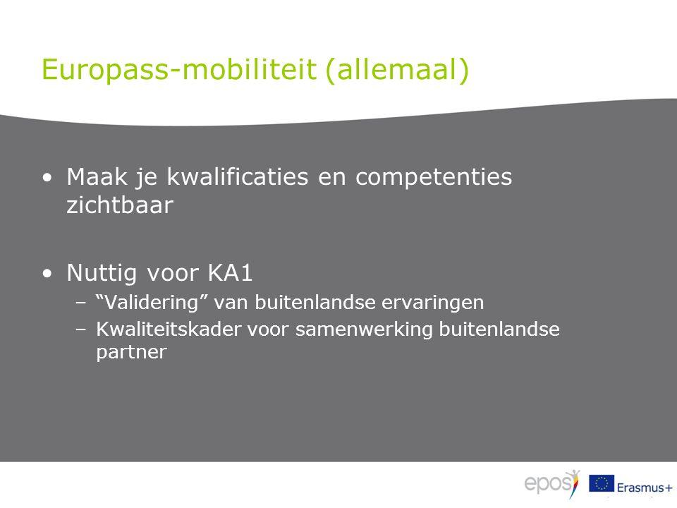Europass-mobiliteit (allemaal) Maak je kwalificaties en competenties zichtbaar Nuttig voor KA1 – Validering van buitenlandse ervaringen –Kwaliteitskader voor samenwerking buitenlandse partner