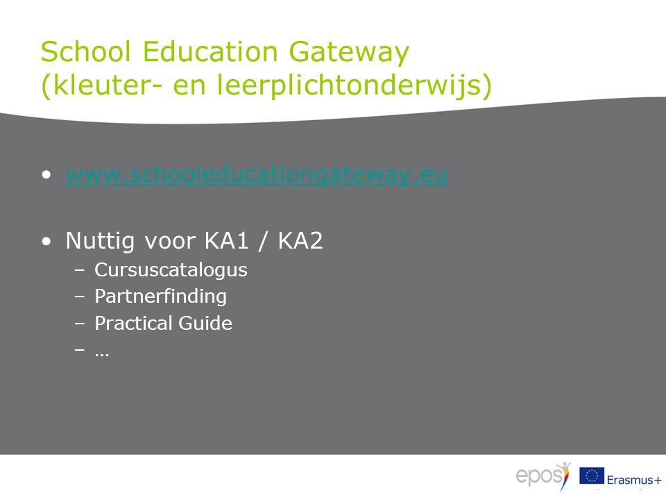 School Education Gateway (kleuter- en leerplichtonderwijs) www.schooleducationgateway.eu Nuttig voor KA1 / KA2 –Cursuscatalogus –Partnerfinding –Practical Guide –…