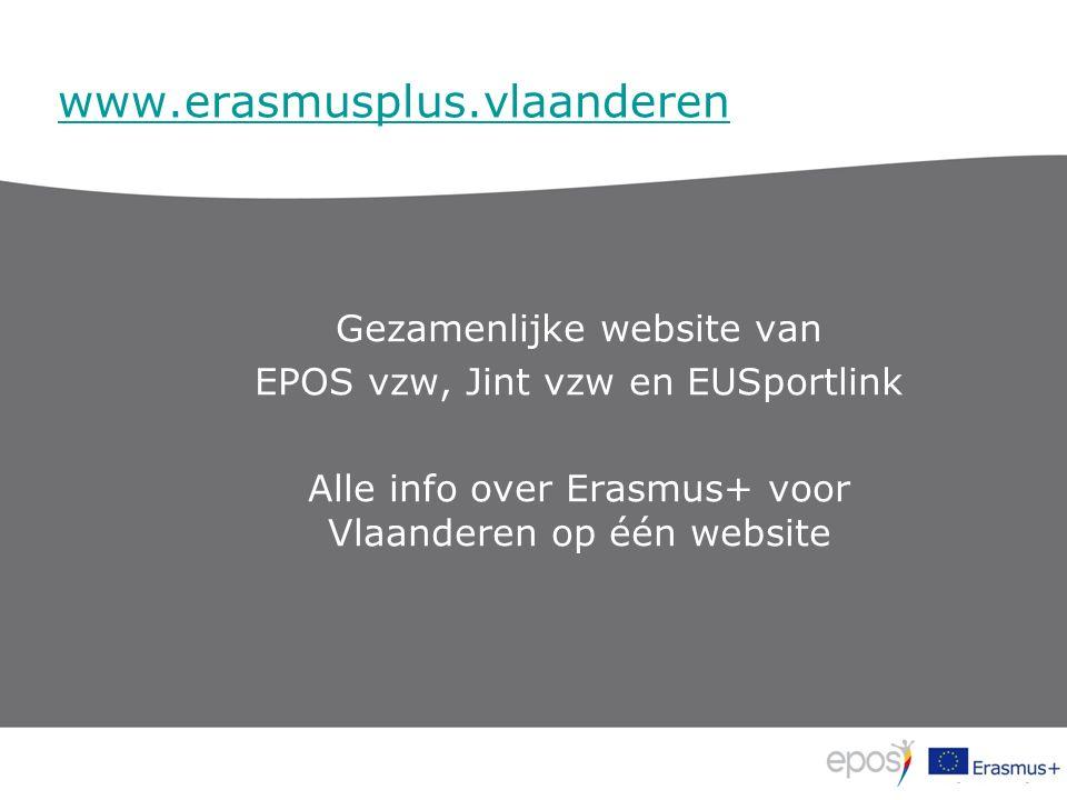 www.erasmusplus.vlaanderen Gezamenlijke website van EPOS vzw, Jint vzw en EUSportlink Alle info over Erasmus+ voor Vlaanderen op één website
