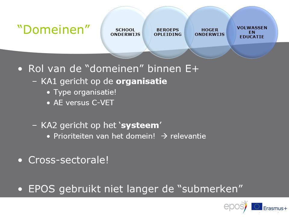Domeinen Rol van de domeinen binnen E+ –KA1 gericht op de organisatie Type organisatie.