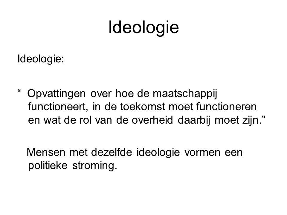 """Ideologie Ideologie: """" Opvattingen over hoe de maatschappij functioneert, in de toekomst moet functioneren en wat de rol van de overheid daarbij moet"""