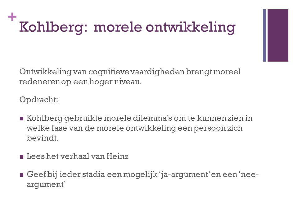 + Kohlberg: morele ontwikkeling Ontwikkeling van cognitieve vaardigheden brengt moreel redeneren op een hoger niveau.