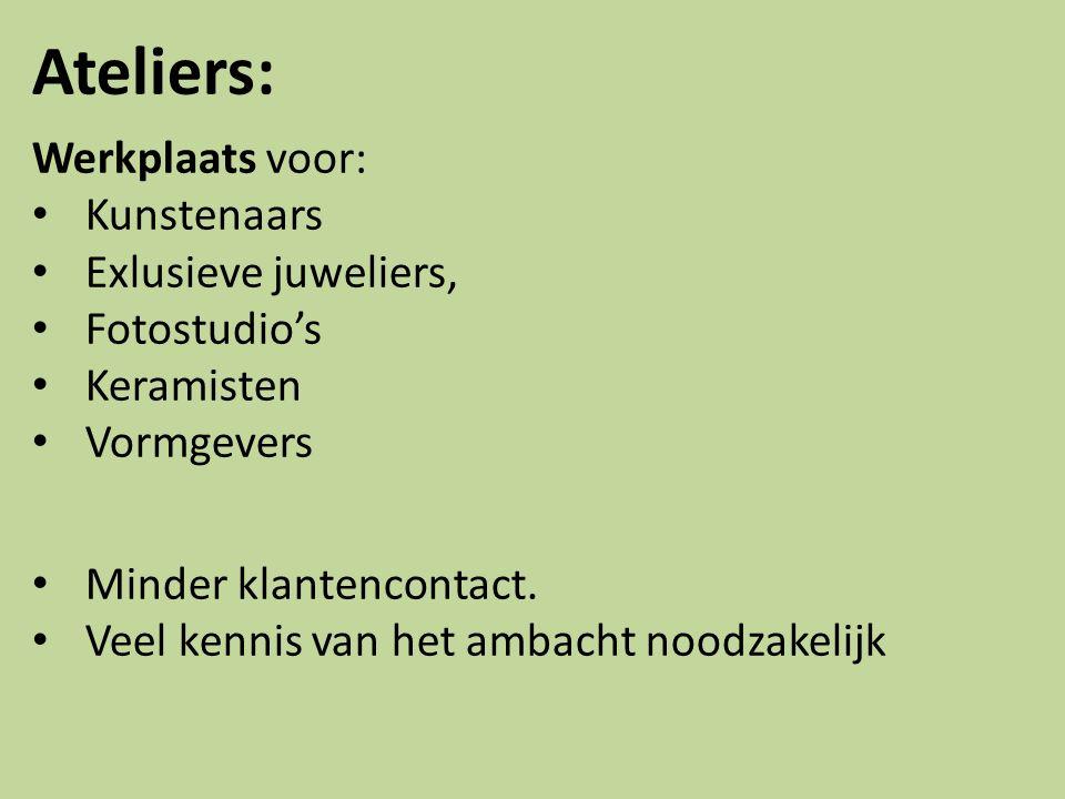 Ateliers: Werkplaats voor: Kunstenaars Exlusieve juweliers, Fotostudio's Keramisten Vormgevers Minder klantencontact.
