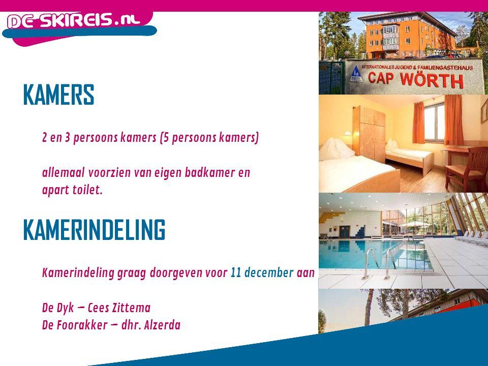 KAMERS 2 en 3 persoons kamers (5 persoons kamers) allemaal voorzien van eigen badkamer en apart toilet.