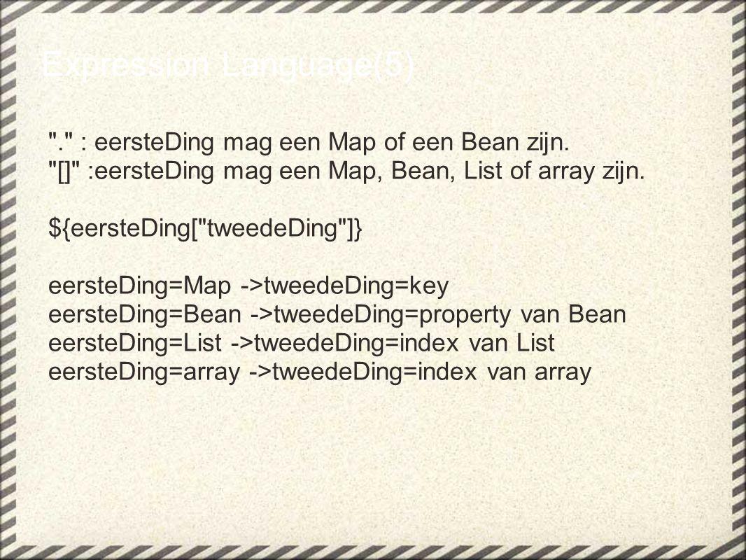 Expression Language(5) . : eersteDing mag een Map of een Bean zijn.
