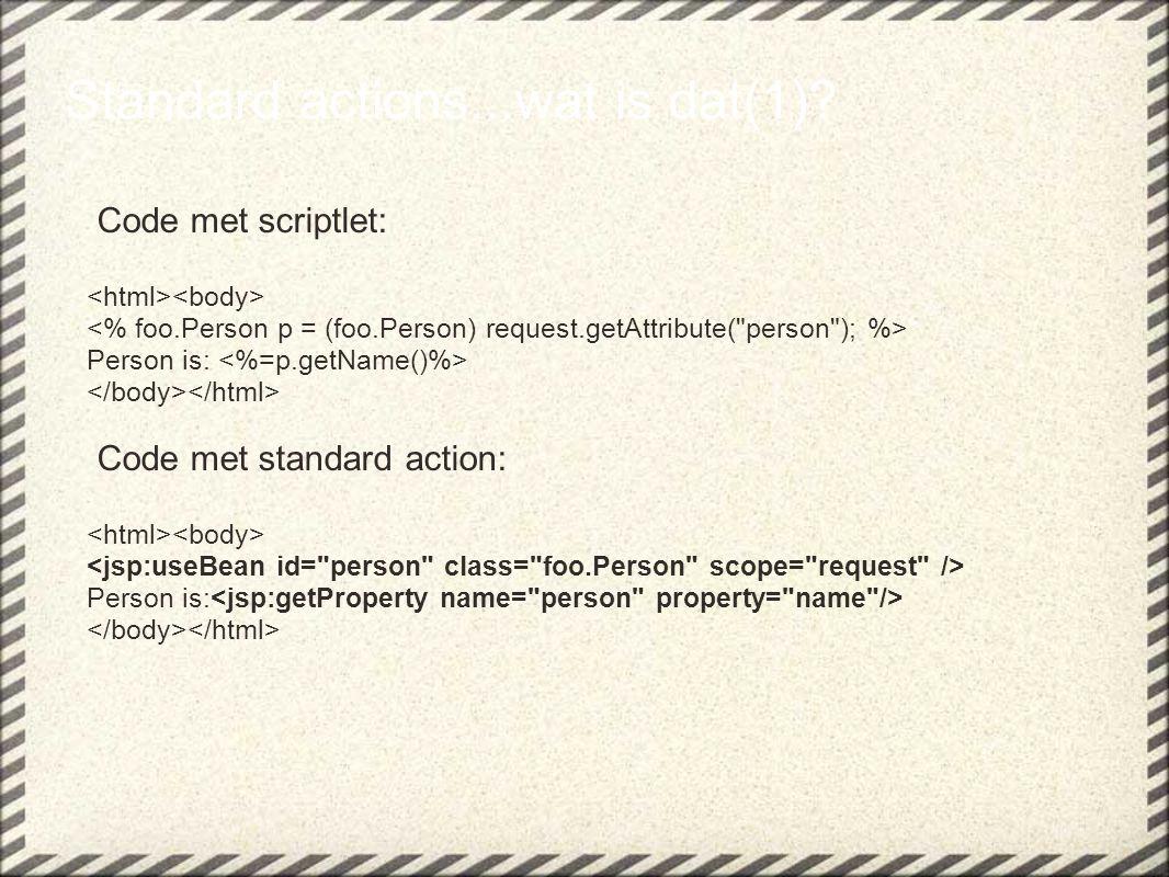Expression Language(6) In een servlet: String[] muziek = { Disco , Hardrock , Country , Pop } request.setAttribute( muziekLijst , muziek); In een JSP: Muziek is : ${muziekLijst}, output = .