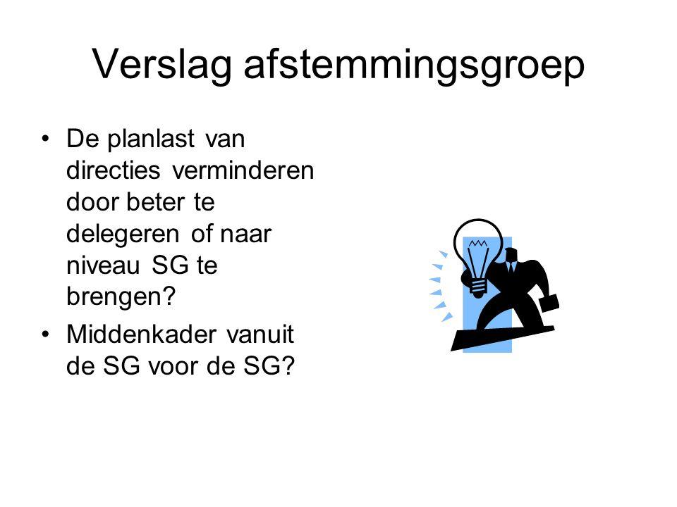 Verslag afstemmingsgroep De planlast van directies verminderen door beter te delegeren of naar niveau SG te brengen.