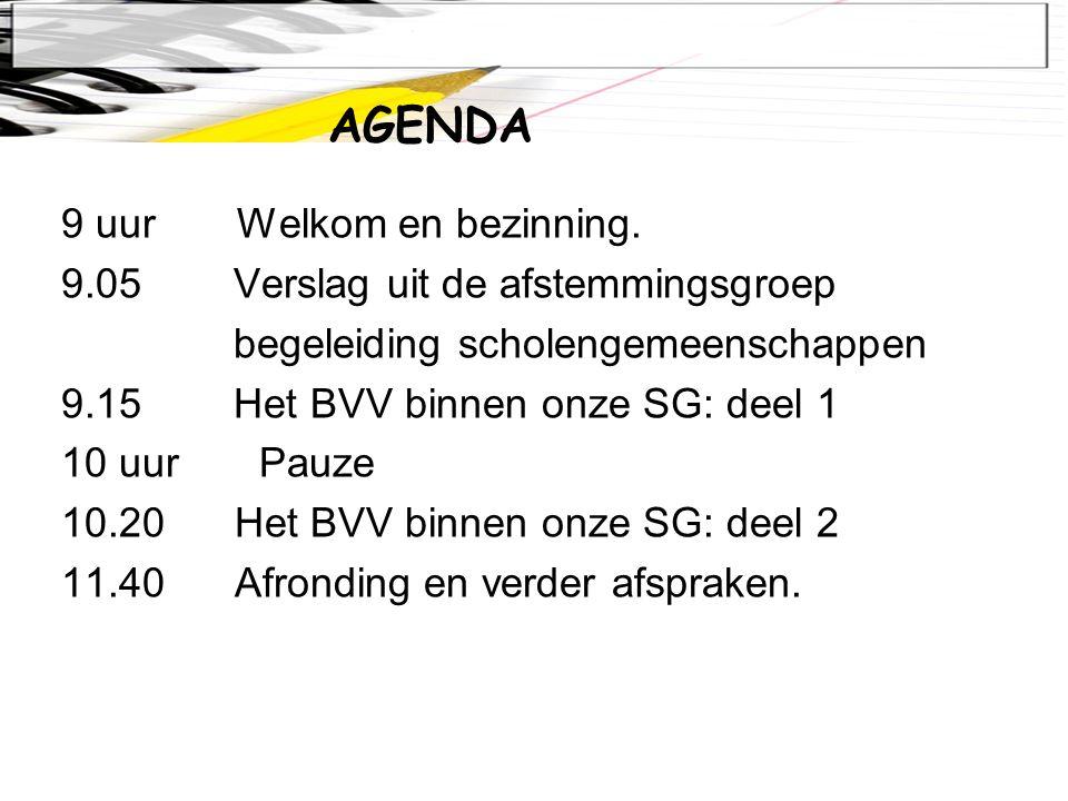 9 uur Welkom en bezinning. 9.05 Verslag uit de afstemmingsgroep begeleiding scholengemeenschappen 9.15 Het BVV binnen onze SG: deel 1 10 uur Pauze 10.