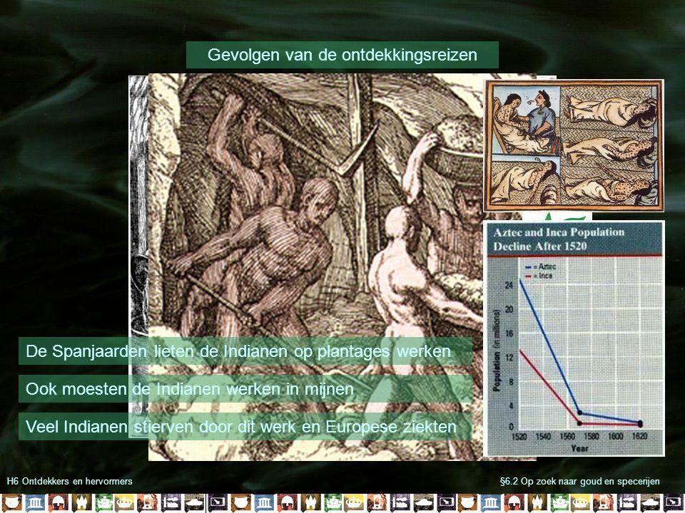 H6 Ontdekkers en hervormers§6.2 Op zoek naar goud en specerijen Gevolgen van de ontdekkingsreizen De Spanjaarden lieten de Indianen op plantages werke