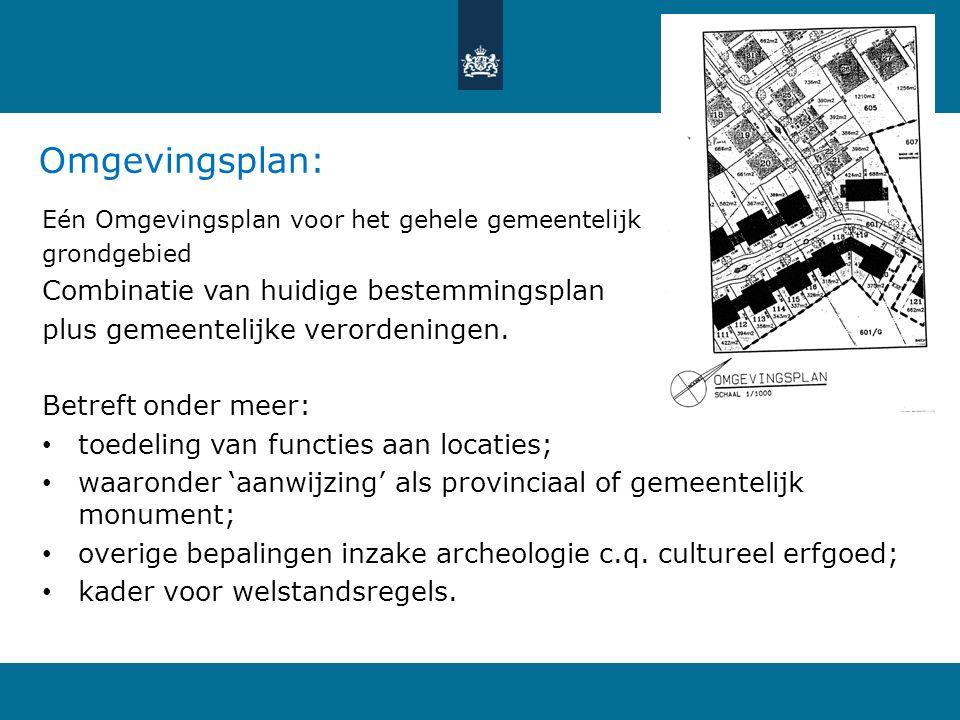 Omgevingsplan: Eén Omgevingsplan voor het gehele gemeentelijk grondgebied Combinatie van huidige bestemmingsplan plus gemeentelijke verordeningen. Bet