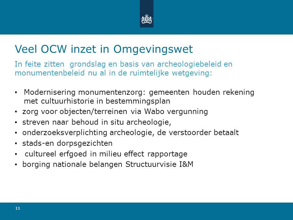 Veel OCW inzet in Omgevingswet In feite zitten grondslag en basis van archeologiebeleid en monumentenbeleid nu al in de ruimtelijke wetgeving: Moderni