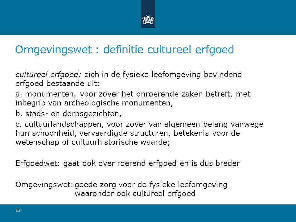 Omgevingswet : definitie cultureel erfgoed cultureel erfgoed: zich in de fysieke leefomgeving bevindend erfgoed bestaande uit: a. monumenten, voor zov