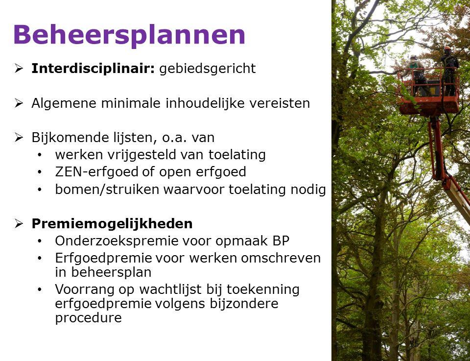  Interdisciplinair: gebiedsgericht  Algemene minimale inhoudelijke vereisten  Bijkomende lijsten, o.a.