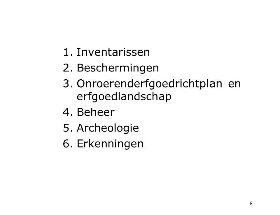 1.Inventarissen 2.Beschermingen 3.Onroerenderfgoedrichtplan en erfgoedlandschap 4.Beheer 5.Archeologie 6.Erkenningen 8